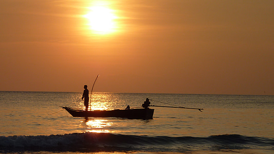 sunset, fischer, fishing at sunset, twilight, thailand, nature, fishing