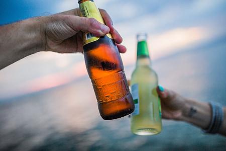 klicati, boca, slaviti, friends, stranka, piće, napitak