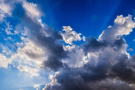 oblaky, Sky, Sunbeam, Slnečné svetlo, svetlo, scéna