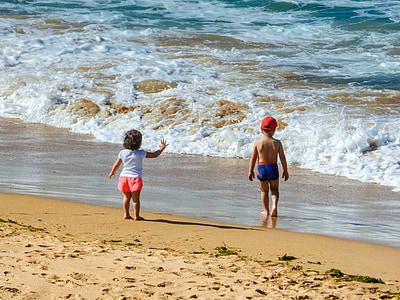 verano, Playa, ondas, niños, vacaciones, arena, mar
