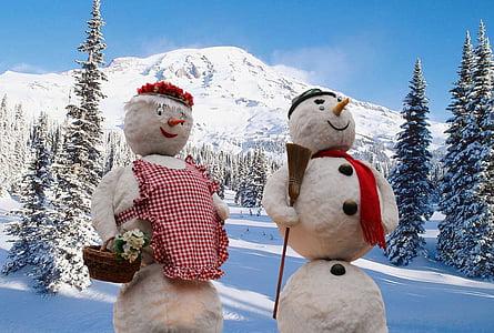sněhuláci, Zimní, sníh, Zimní, zimní les, Zimní sen