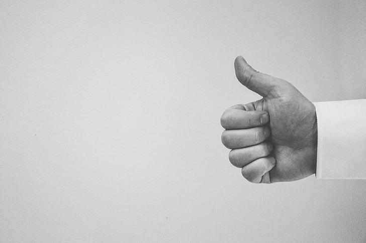 aprobar, en blanco y negro, mano, como, positiva, éxito, pulgar