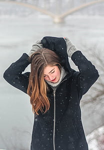 beautiful, clothes, cold, fashion, zing, frozen river, girl
