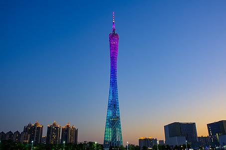 광저우 타워, 황혼, 야경, 중국, 저녁, 빛, 현대 건축