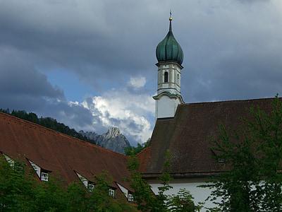 hegyi, säuling, fény, sötét, felhők, templom, ferences templom