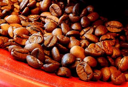 koffie, koffiebonen, aroma, cafeïne, geroosterde, roosteren, bonen