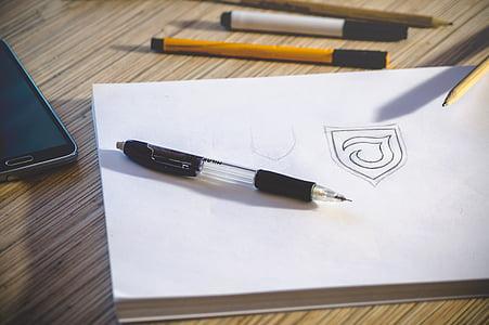 Bàn, Workspace, bút chì, giấy, biểu tượng, phác thảo, công việc