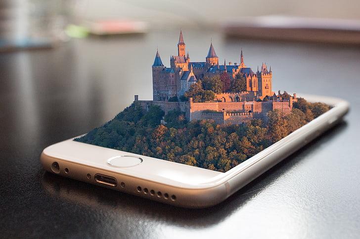 mobiltelefon, smartphone, 3D, manipulation, telefon, pekskärm, kommunikation