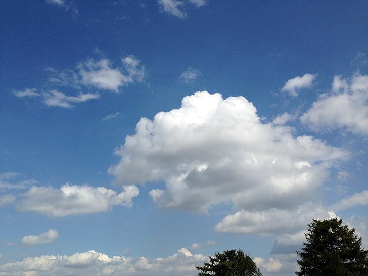 tītais debesis, gubu mākoņi mākoņi, zilas debesis