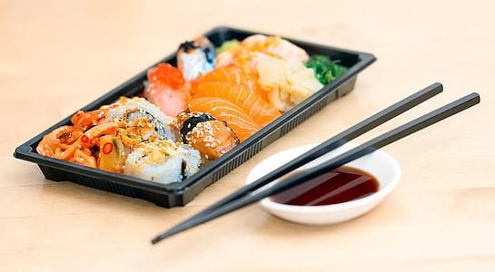 Sushi, Porta via, cibo, pasto, frutti di mare, Giapponese, rotolo