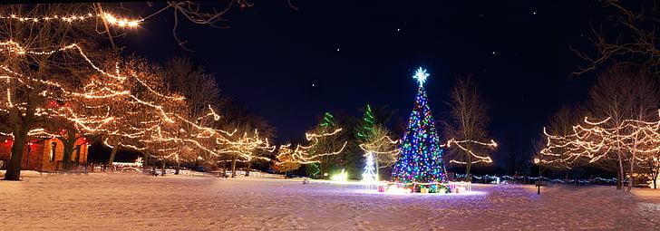 Karácsony város, karácsonyi fa, téli, Holiday, szezon, éjszaka, falu