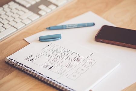 flou, téléphone portable, gros plan, conception, concepteur, appareil, document