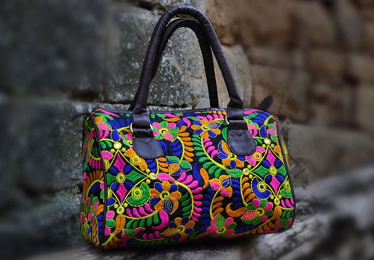 bosses, dones, equipatge, adorn floral, moda, accessoris, colors