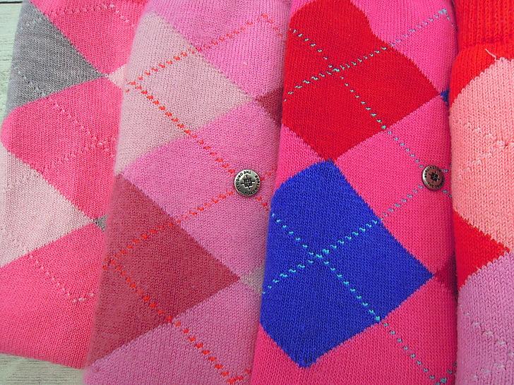 mitjons, vestit, moda, color, bigarrada, Rosa, vermell