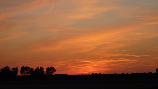 ηλιοβασίλεμα, μεταλαμπή, βραδινό ουρανό, abendstimmung, σύννεφα