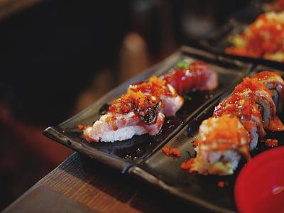 Sushi, cibo, gamberetti, riso, piastra, Giapponese, ristorante