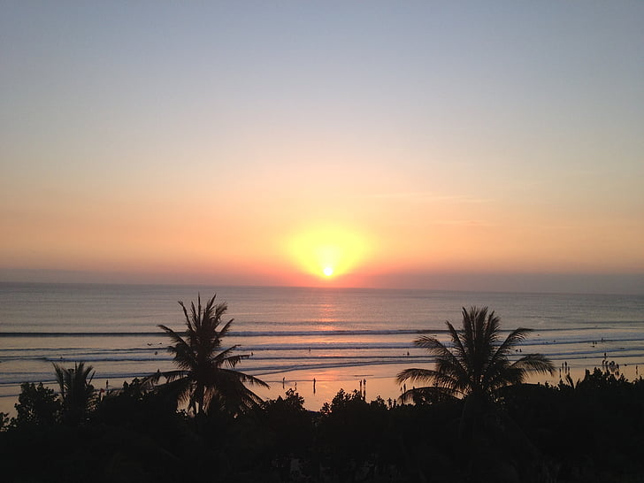 Bali, solnedgång, stranden, havet, naturen, skymning, siluett