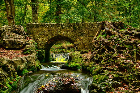 bad urach, germany, river, hdr, landscape, trees, water