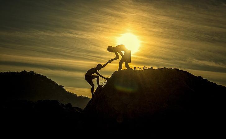 piedzīvojums, augstuma līmeni, roka, palīdzība, sportists, zēni, izaicinājums