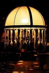 utensilios de lámparas, cuchara de, horquilla, colgante, decorar, restaurante, ambiente