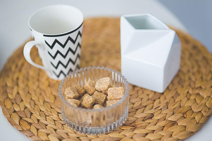 suhkru, pruun, pruuni suhkrut, kohvi, tee, kruus, Cup