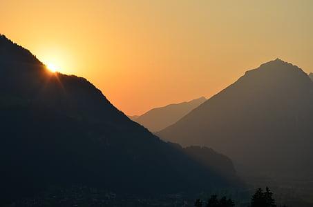 Alpina, pôr do sol, abendstimmung, natureza, Áustria, Tirol, arrebol