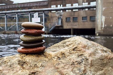 Roca, equilibri, Zen, pila, harmonia, relaxació, Dam