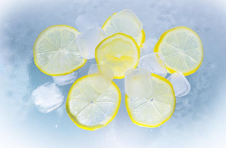 citroner, Ice, vand, sommer, erfrischungsgetränk, forfriskning, isterninger