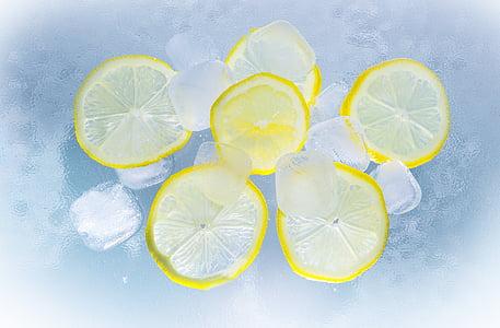 citroni, ledus, ūdens, vasaras, erfrischungsgetränk, veldze, ledus kubiciņi