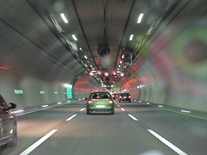 Авто, шосе, дорога, тунель, швидкість, водіння автомобіля, трафік