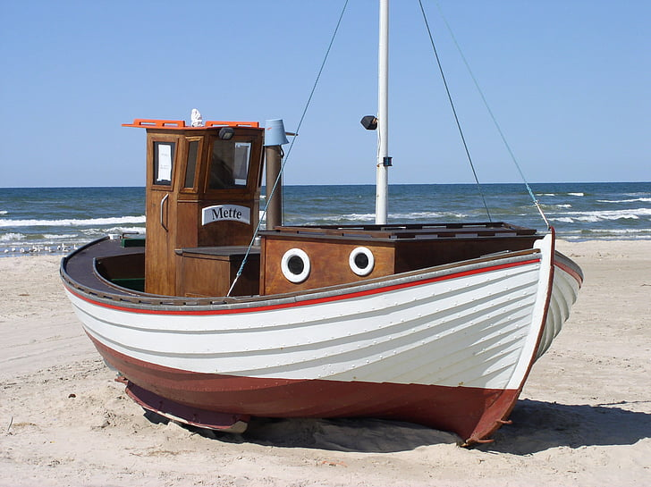 fiskebåt, Danmark, stranden, havet, Nordsjön, Løkken, nautiska fartyg