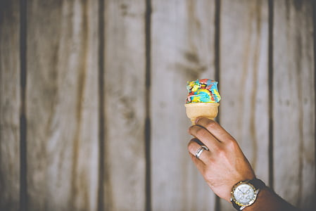 person, holding, ice, cream, cone, icecream, watch