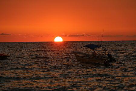 apus de soare, apus de soare cu barca, Mexic, barca de pescuit, plajă, plaja apus de soare