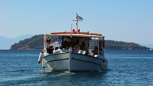 båt, kryssning, havet, ön, semester, Holiday, turism