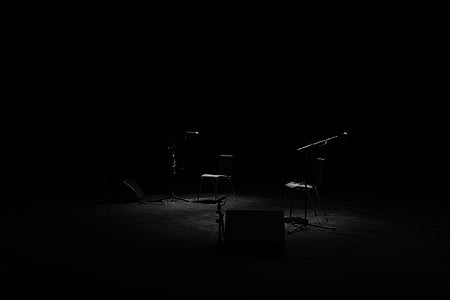 stage, limelight, dark, microphones, music, musical instrument, arts culture and entertainment