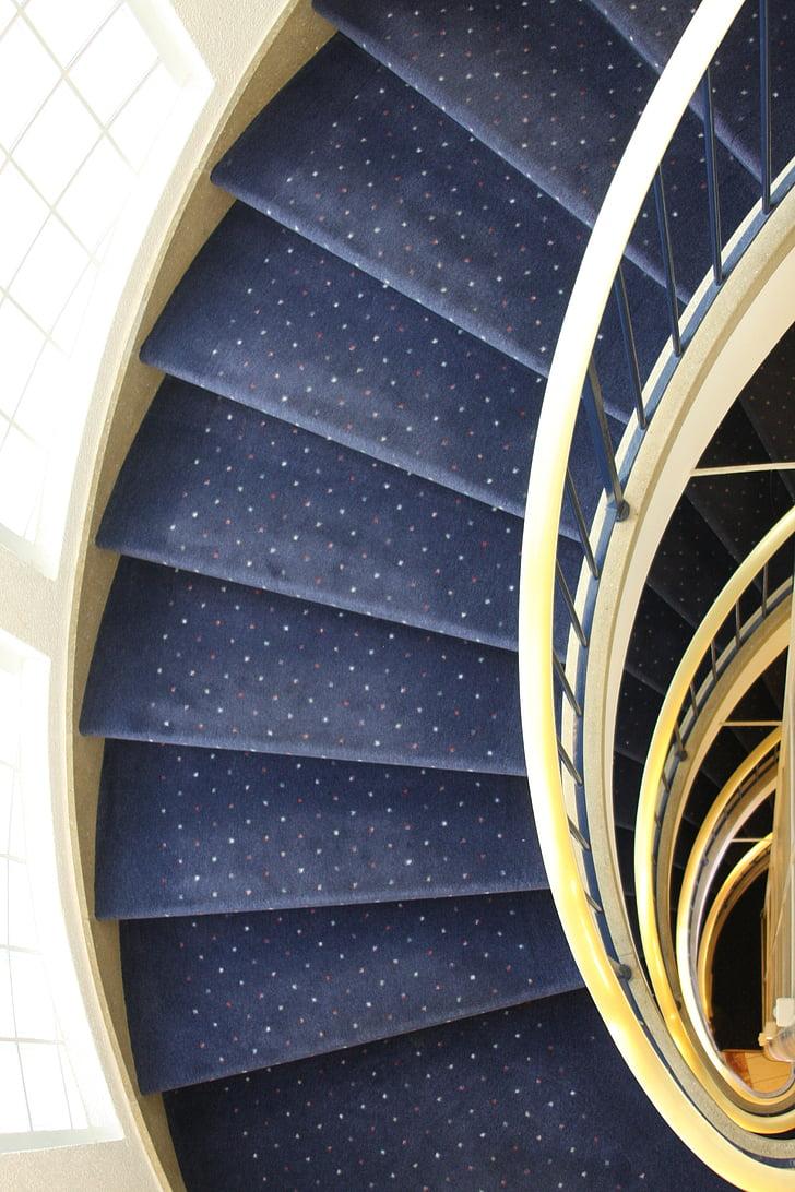 Hotel, trapper, arkitektur, trapp, kurve, spiraltrapp, spiral