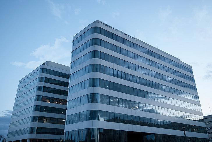 negoci, cel, reflexió, arquitectura, Centre d'oficina, ciutat, vidre