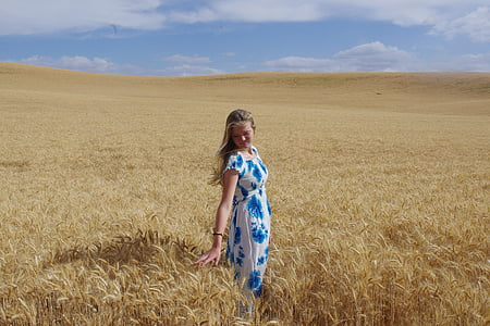 golden, wheat, field, harvest, girl, agriculture