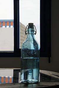 glasflaske, blå, vand, vandflaske, glas, farve