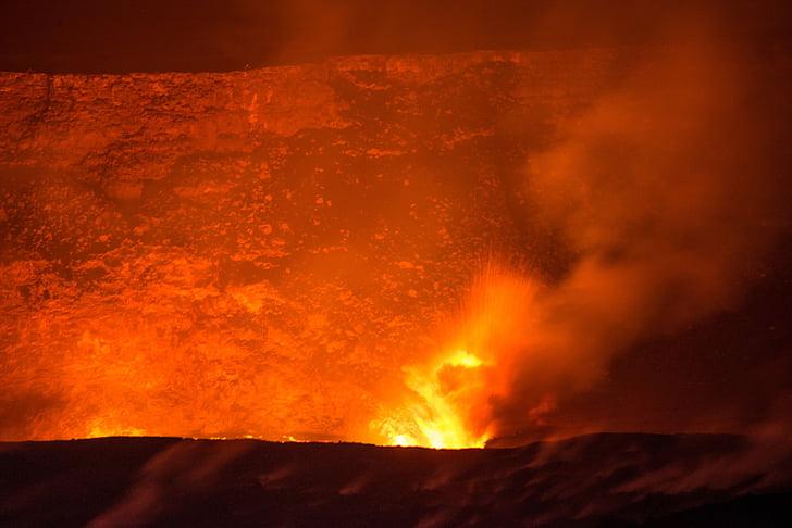 vulkanas, lavos, teka, išsiveržimas, kraštovaizdžio, aktyvus, Karšta