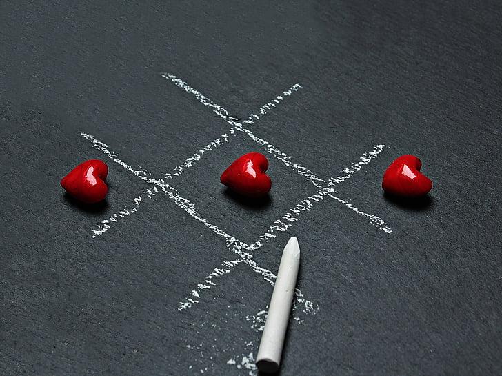 board, chalk, chalkboard, conceptual, game, heart, love