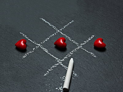 board, chalk, chalkboard, conceptual, game, heart, love