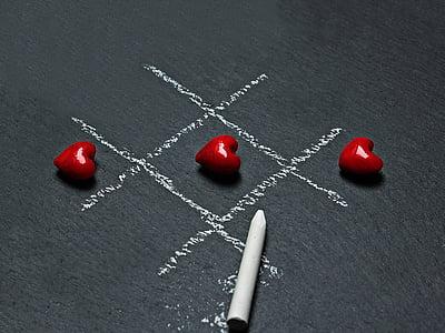 odbora, kreda, ploča, konceptualni, igra, srce, ljubav