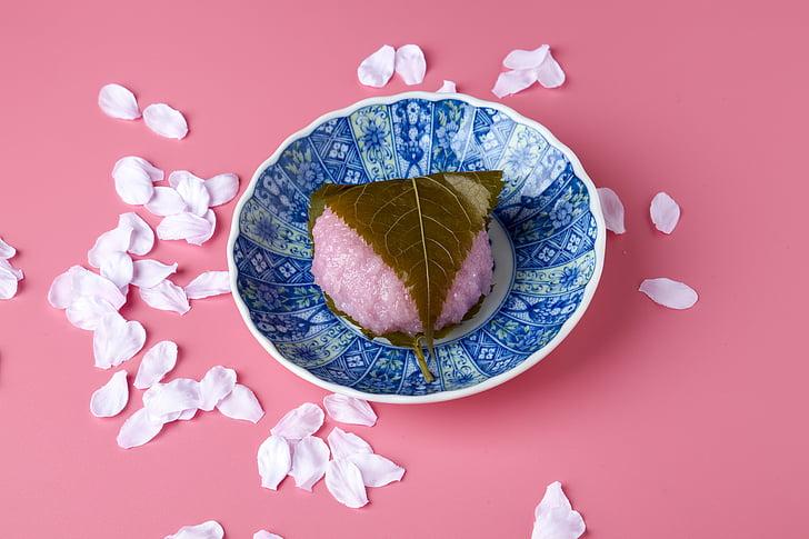 sakuramochi, japanese-style confection, pink, cherry tree rice cake, suites, confectionery, sweet