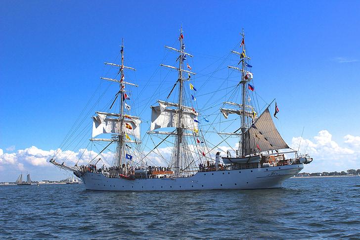 sailing vessel, sail, sea, ship, shipping, hanse sail, rostock