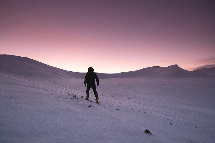 neve, pôr do sol, caminhadas, frio, paisagem de inverno, Inverno, Crepúsculo
