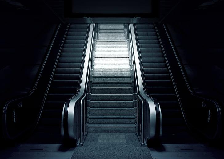 escala mecànica, metro, escales, metro, urbà, l'estació de, escala