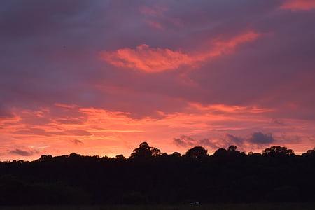 solnedgång, mörka, röd, svart, siluett, Sky, solnedgång sky