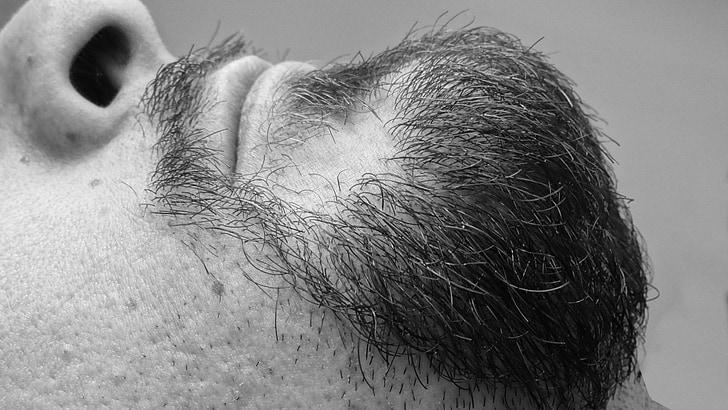 beard, face, lengthen, black, black and white, white, details