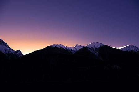 muntanyes, neu, l'hivern, morgenrot, llum, morgenstimmung, Alba